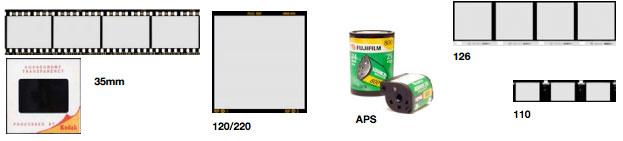 35mm negatives or slides, 120/220, APS, 110 and 120 Format Film supported film formats or prints