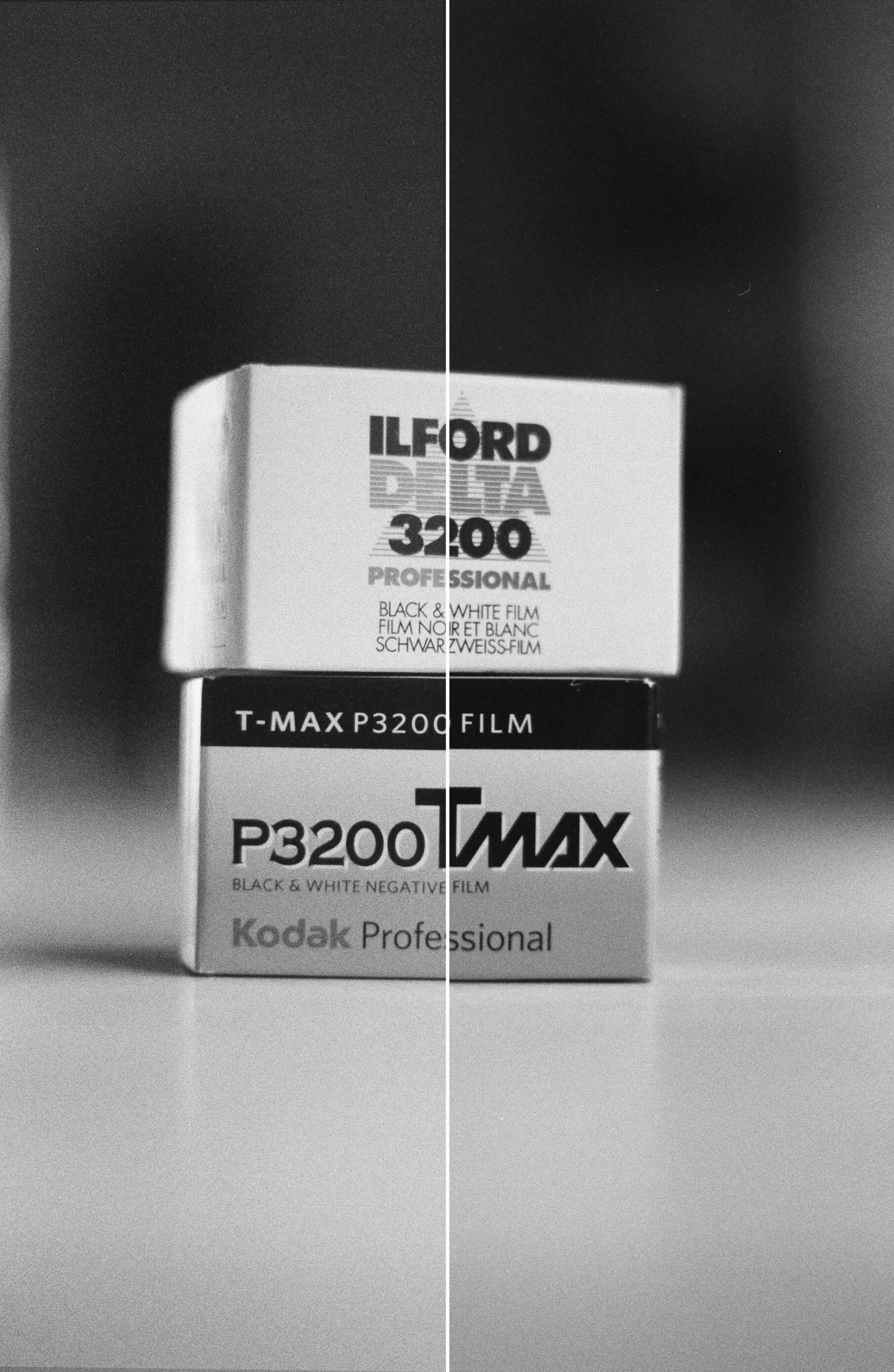 Delta 3200 vs T-MAX P3200 film boxes
