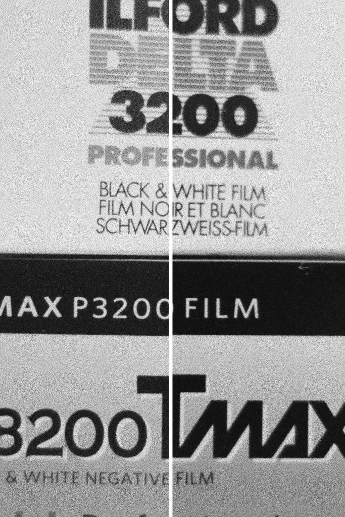 Delta 3200 vs T-MAX P3200 film box detail